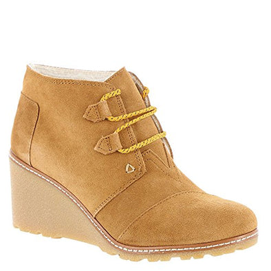 TOMS New Desert Wedge Wheat Suede Shearling Crepe
