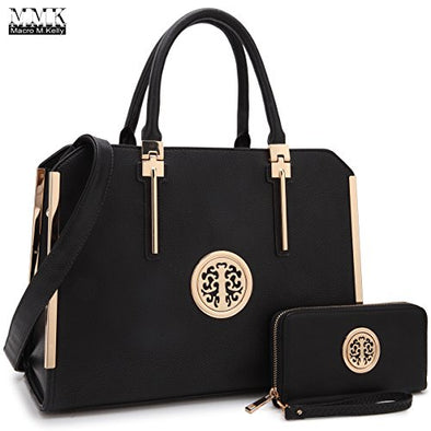 MMK Collection Fashion Pad-lock Satchel handbags with wallet~Designer Purse for Women ~Multi Pocket ~ Perfect Women Purse and wallet~ Beautiful Designer Handbag Set