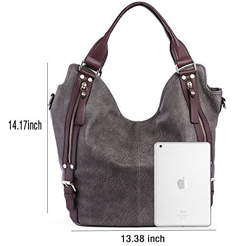JOYSON Women Handbags Hobo Shoulder Bags Tote PU Leather Handbags Fashion Large Capacity Bags dark brown