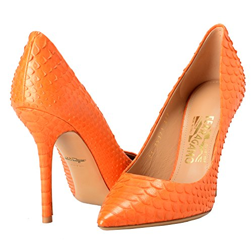 Salvatore Ferragamo Susi 100 Women's Python Skin Orange High Heels Pumps Shoes US 9.5B IT 10B EU 40B