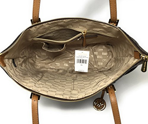 Michael Kors Jet Set Item Large East West Signature Top Zip PVC Tote (Brown/Acorn)
