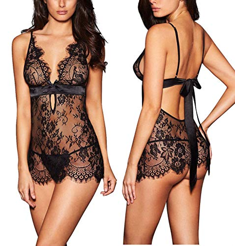 AnloveKiss Women Sexy Lingerie Black Eyelash Lace Chemise Babydoll Nightwear Set See-Through (Small, Black)
