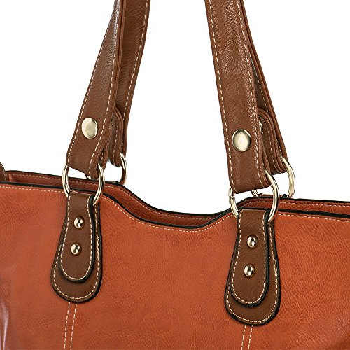 UTAKE Handbags for Women Top Handle Shoulder Bags PU Leather Tote Purse Meduim Size Orange