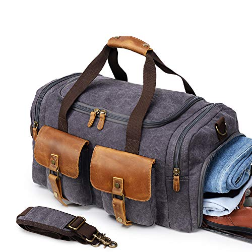 9e2dc6080 Kemy's Canvas Duffle Bag Oversized Overnight Bags for Men Weekend Travel  Duffel Weekender Bags Canvas Leather Gym Traveling Airplanes Carry On  Luggage Shoes ...