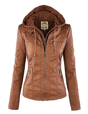 WJC663 Womens Removable Hoodie Motorcyle Jacket XXL Camel