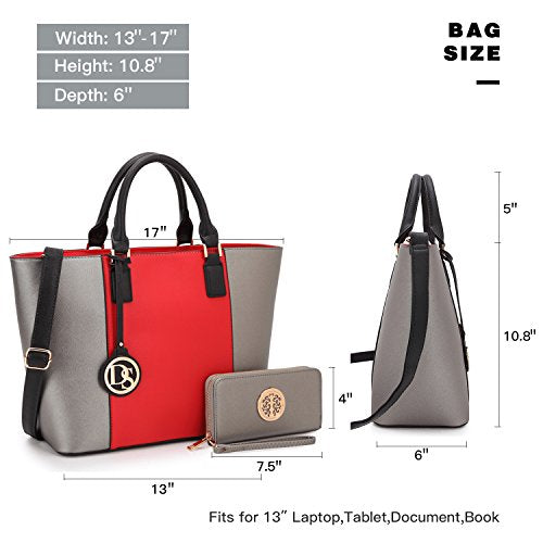6134fb5a7d99b3 Dasein Women's Designer Large Laptop Top Handle Structured Tote Bag Satchel  Handbag Shoulder Bag Purse (6417 Red/Pewter)