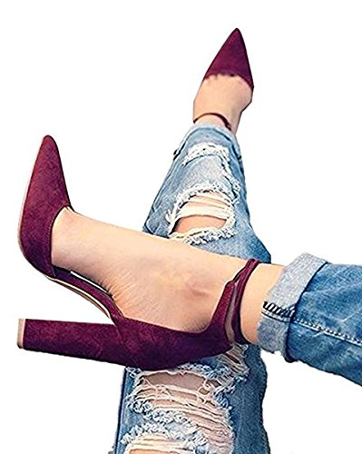Ankle Strap High Heels Wine Red