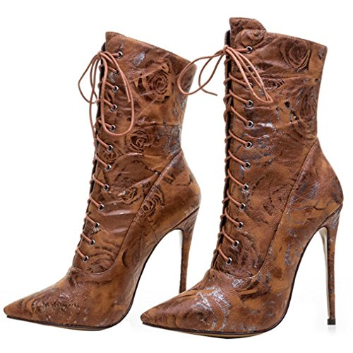 ENMAYER Microfiber Material Ankle Boots for Women High Heels Pointed Toe Short Boots Shoes