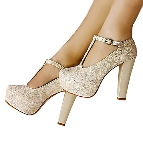 getmorebeauty Women's Marty Janes T-Strappy Lace Women Dress Wedding Shoes