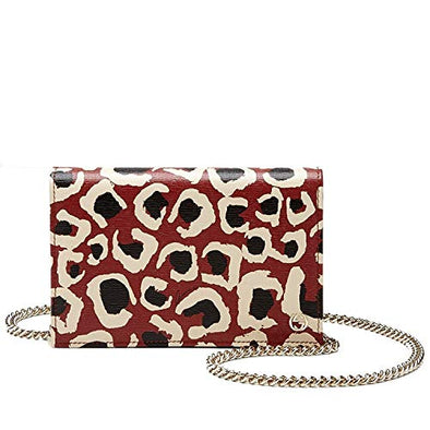 Gucci Red Leopard Print Leather Chain Cross Body Clutch Bag 354697