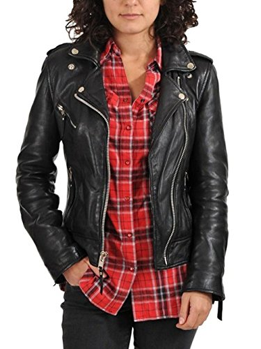 SID Women's Moto Lambskin Leather Jacket, Bikers Jacket