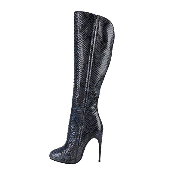 Gucci Women's Python Skin High Heels Knee-High Boots Shoes