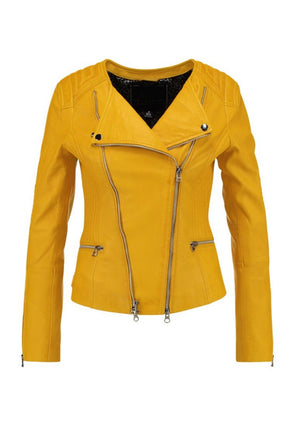 Koza Leathers Women's Lambskin Leather Biker Jacket KN247 (XXX-Large (Fit to Chest 42)) Yellow