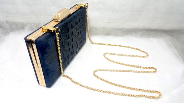 Clutch Heidi Blue Alligator - Bestitem.co