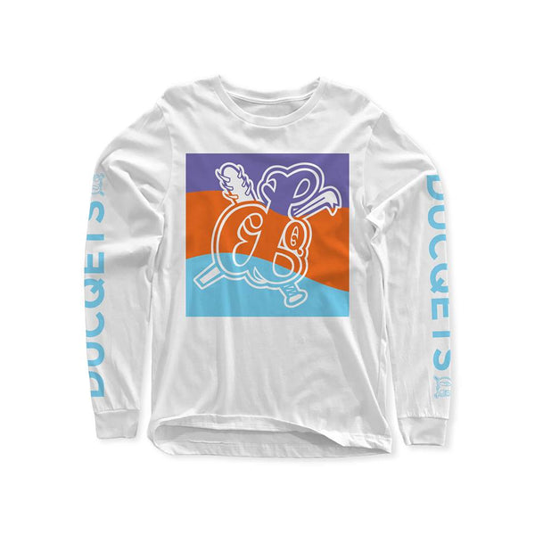 Wave Blow Up Long Sleeve T-Shirt White - Ducqets