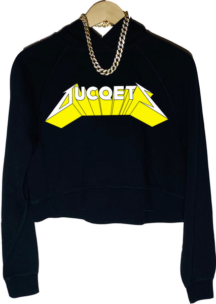 Women's Ducqtelica Crop Top Hoodie (Blacq) - Ducqets