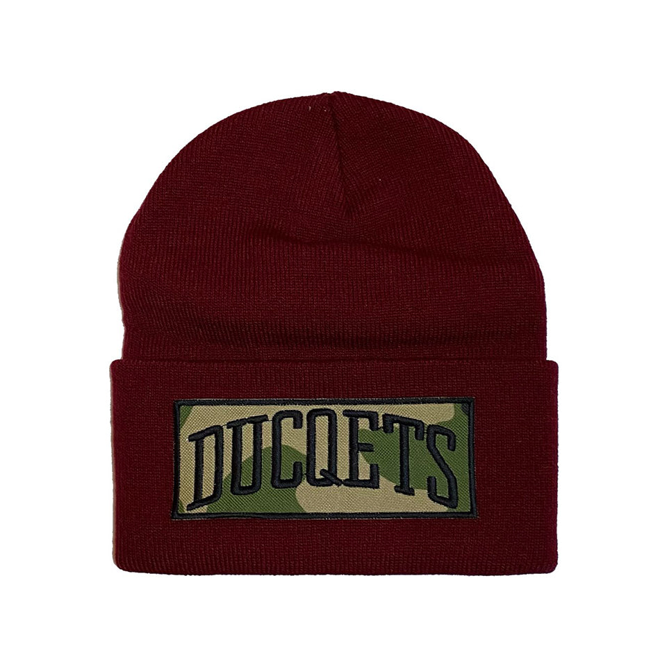 Maroon Athletic Beanie Camo Patch