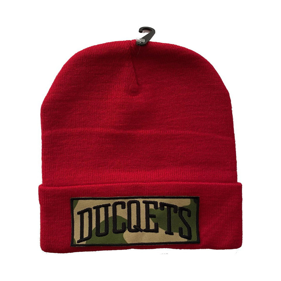 Red Athletic Beanie Camo Patch
