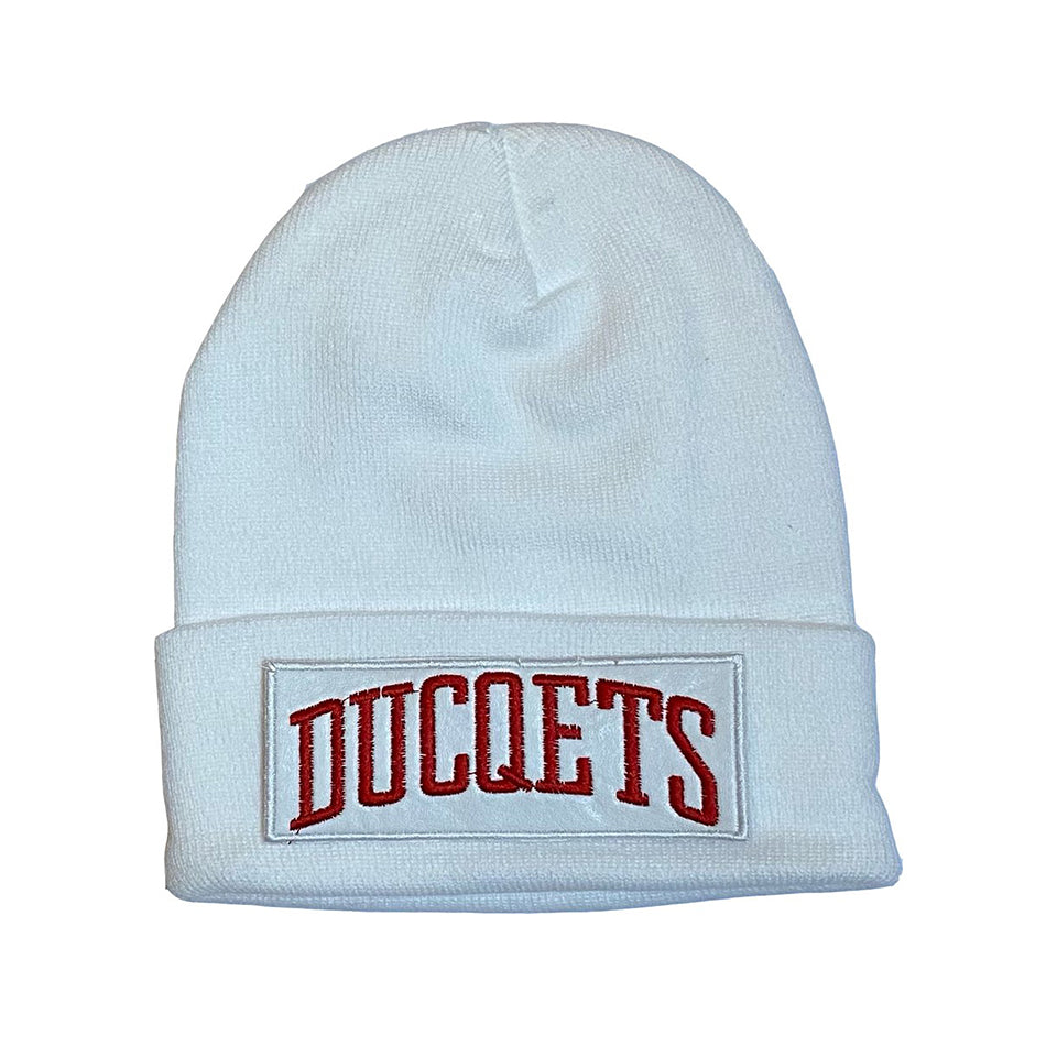 White Athletic Beanie White Patch