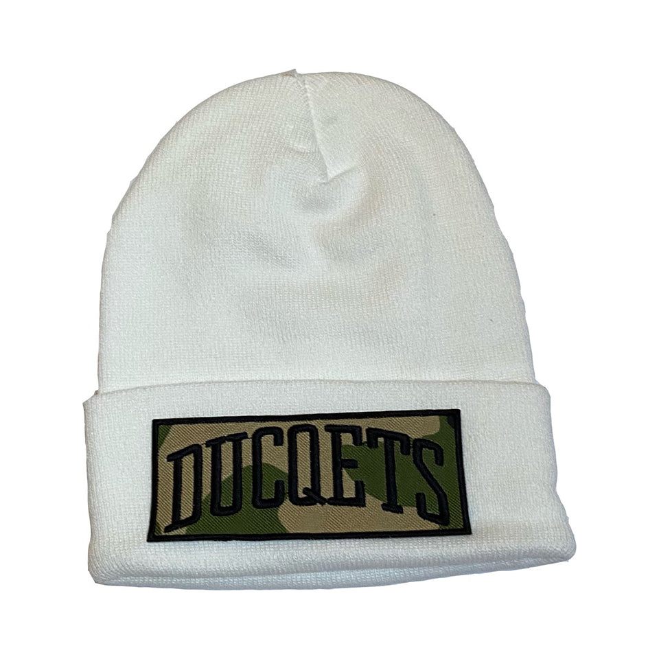 White Athletic Beanie Camo Patch