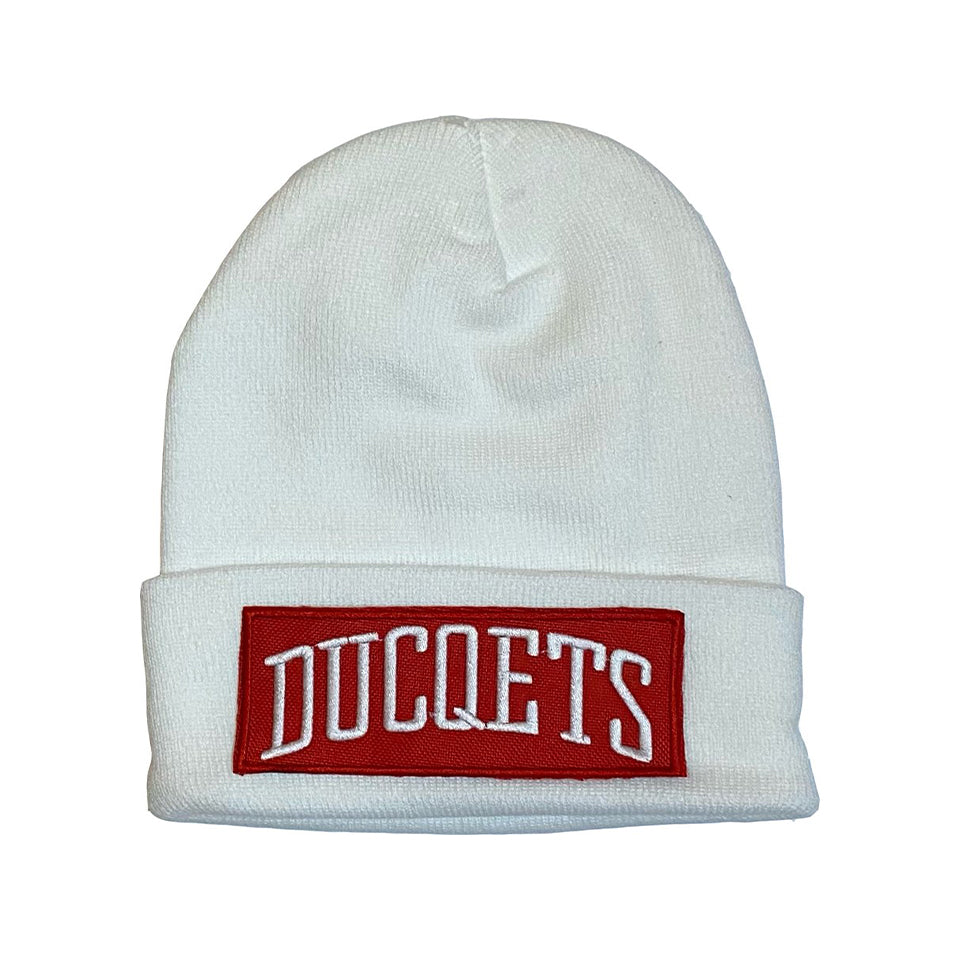 White Athletic Beanie Red Patch