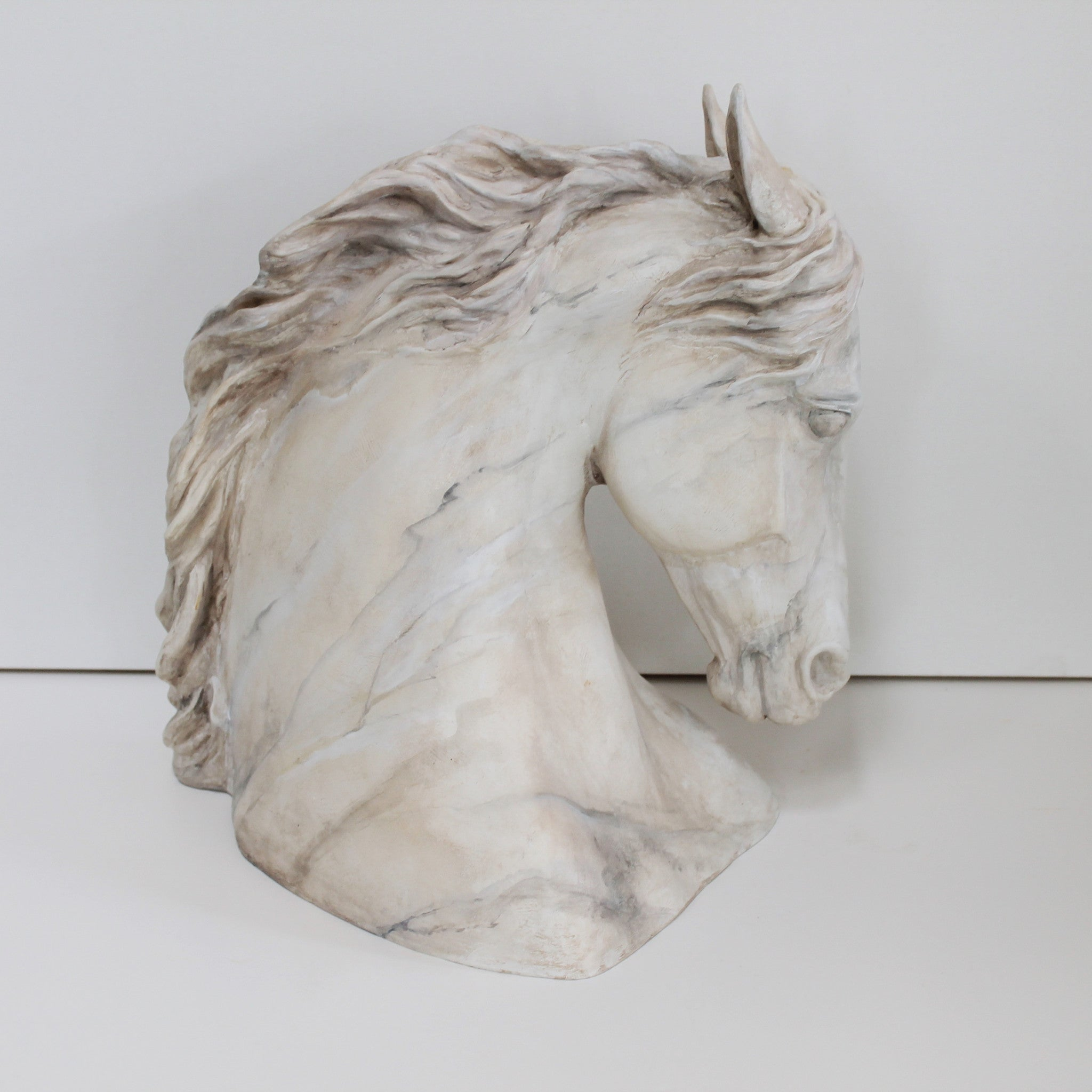 Horse Head Sculpture faux marble color- Patricia Borum - 2