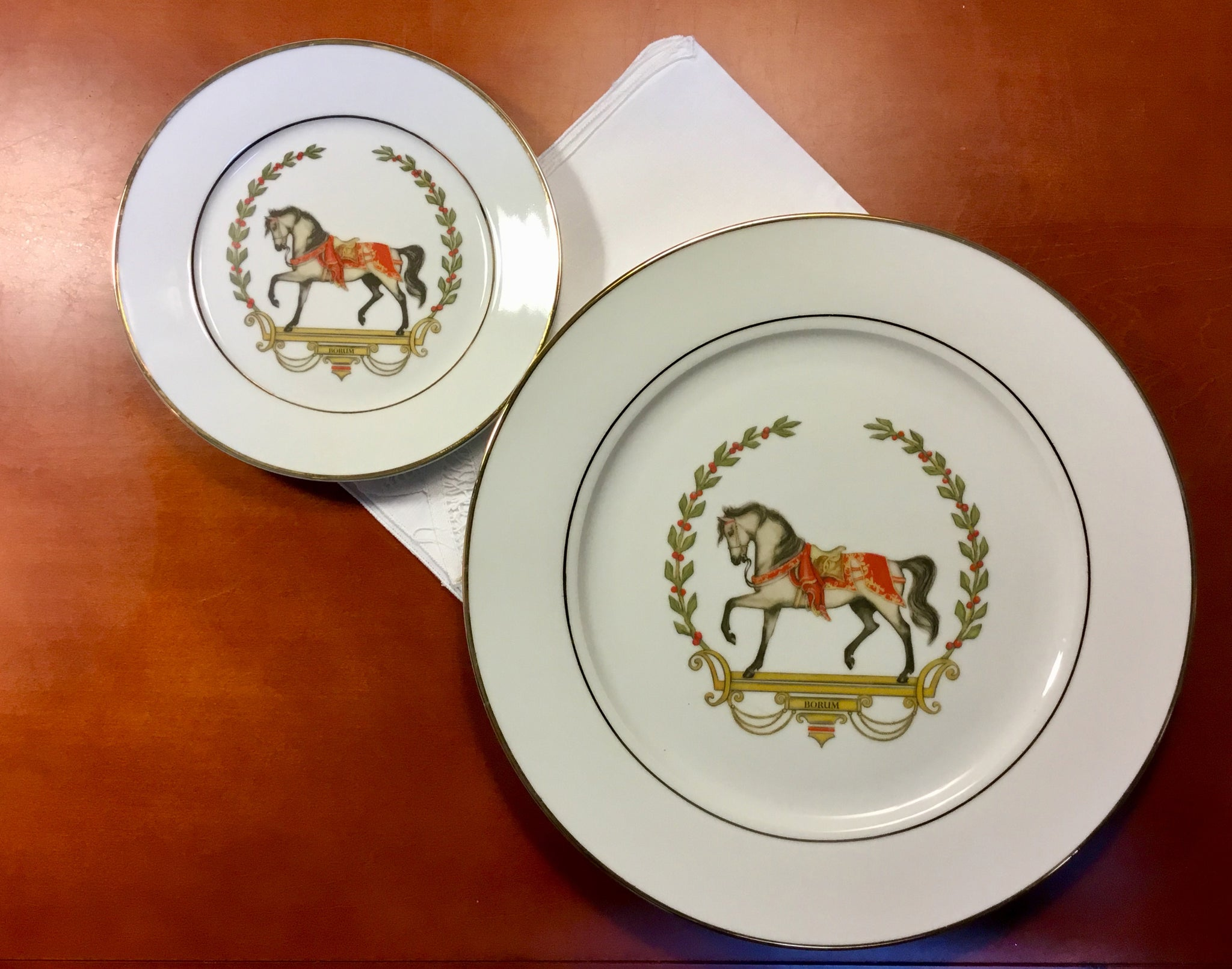 Christmas Platter Plates.Classical Christmas Horse Set 6 Small Plates And One Serving Plate