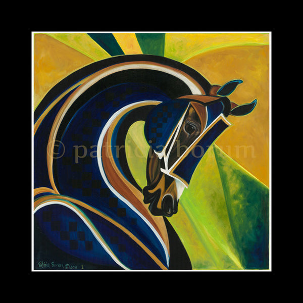 Blue Curaco Print  modern and stylized horse- Patricia Borum