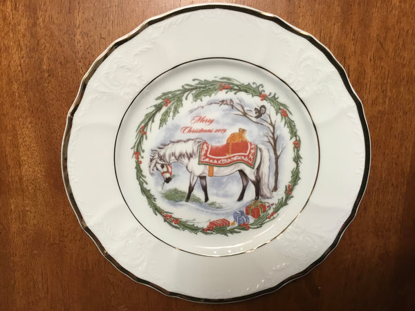 Christmas pony with presents collector plate