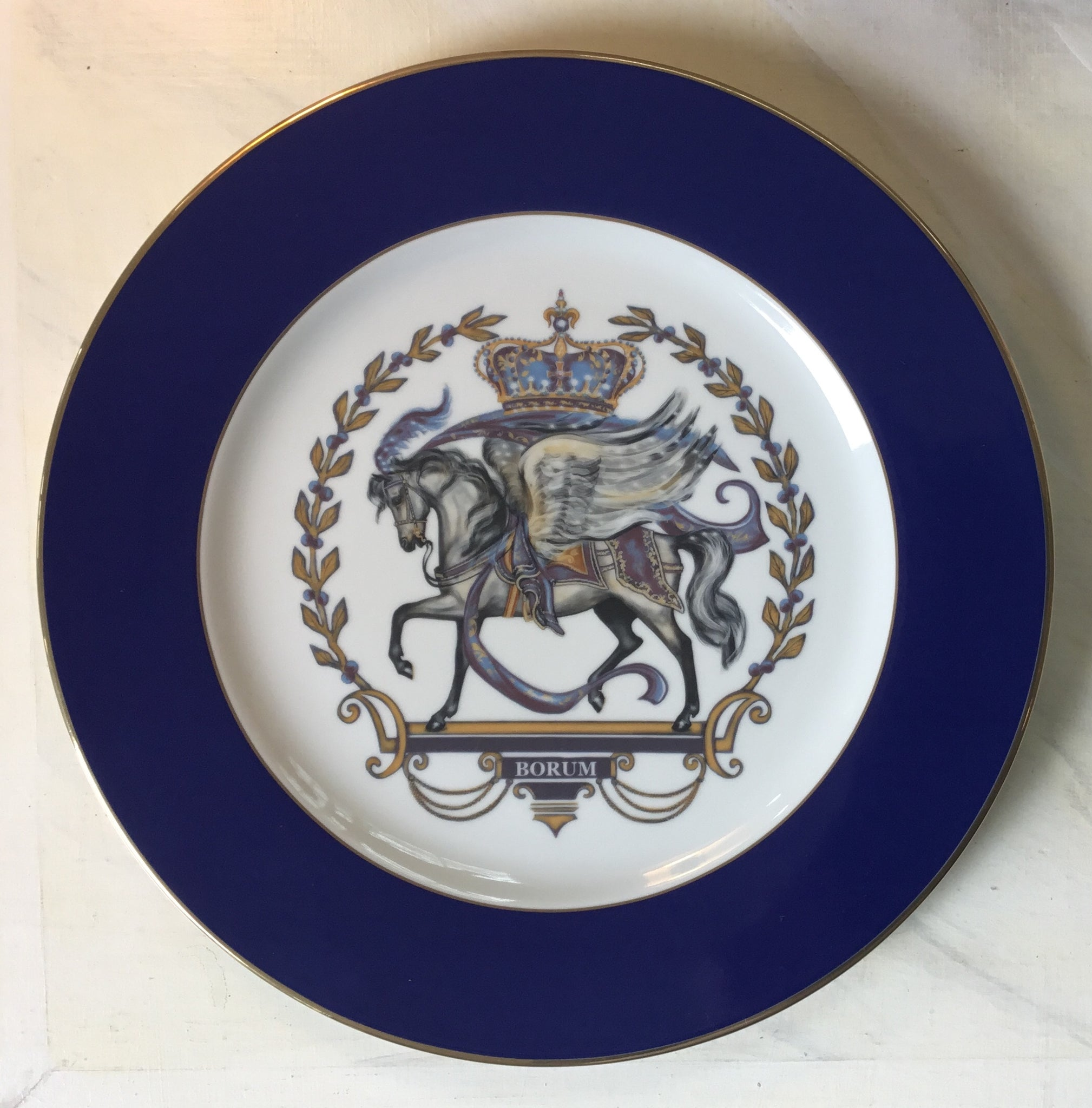 Royal Pegasus crest cobalt blue charger