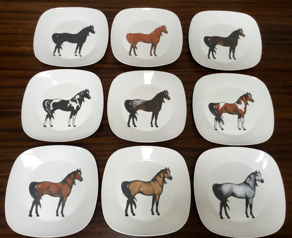 horse dinner plates 9 different colors