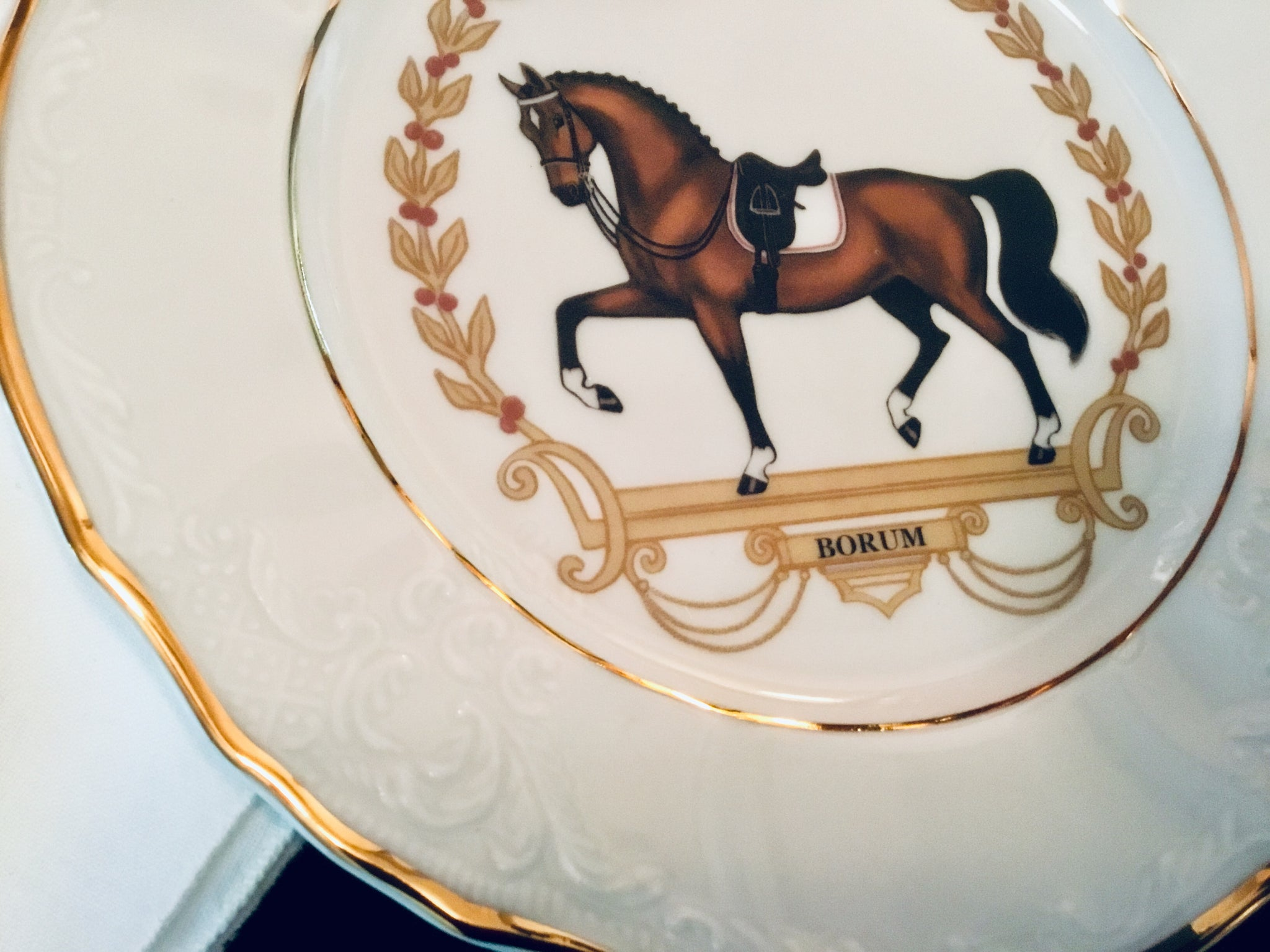 Dressage horse salad plate bernadotte design gold edged