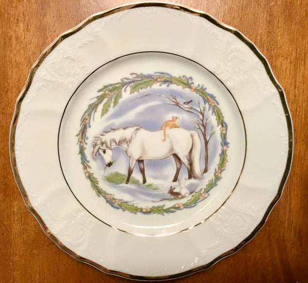 Christmas snow pony dessert plate for collectors