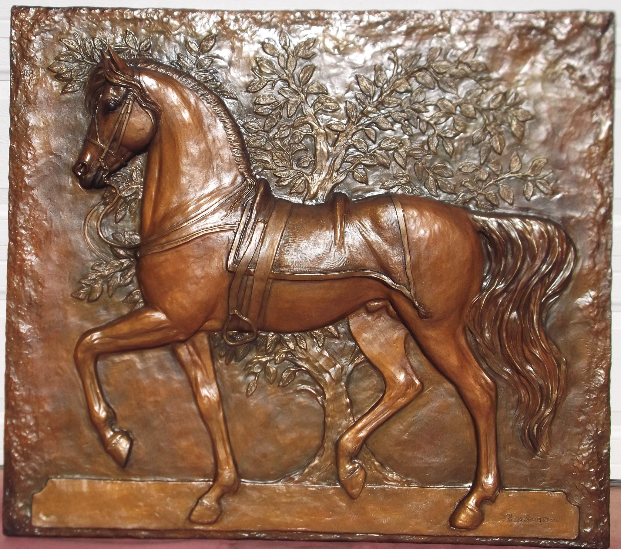 Passage Horse Wall Sculpture (bronze) - Patricia Borum