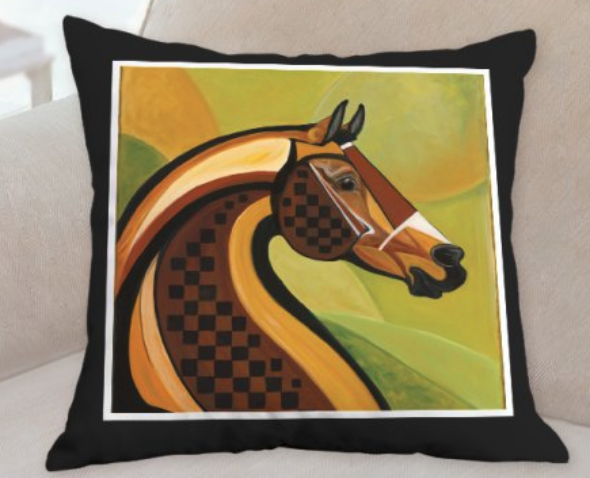 Courvoisier horse pillow by Patricia Borum