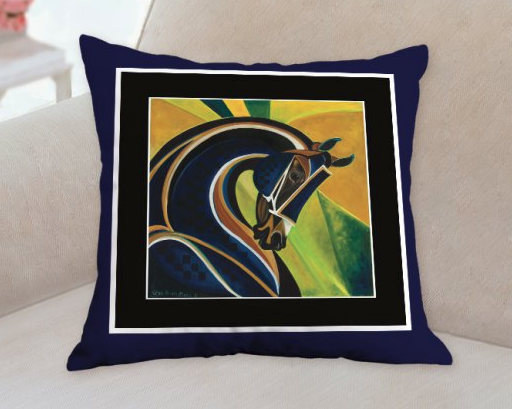 Blue Curaco horse pillow Patricia Borum