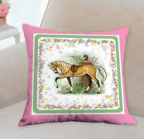 Palomino Riding horse pink pillow by Patricia Borum