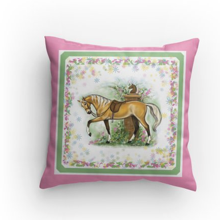 Palomino Riding horse pillow pink Patricia Borum