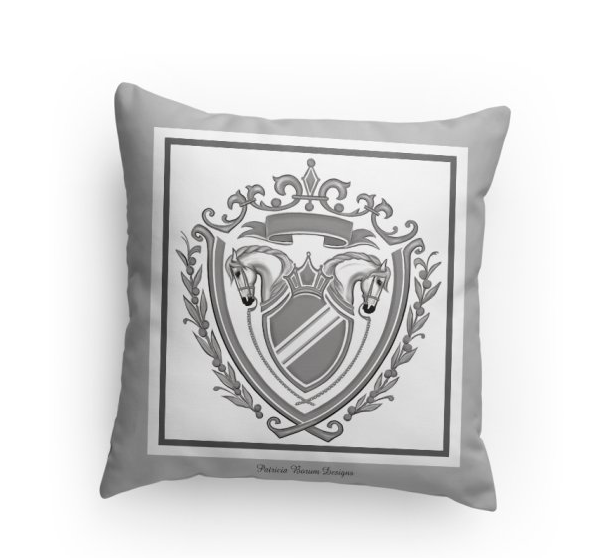 horse crest/coat of arms pillow, gray