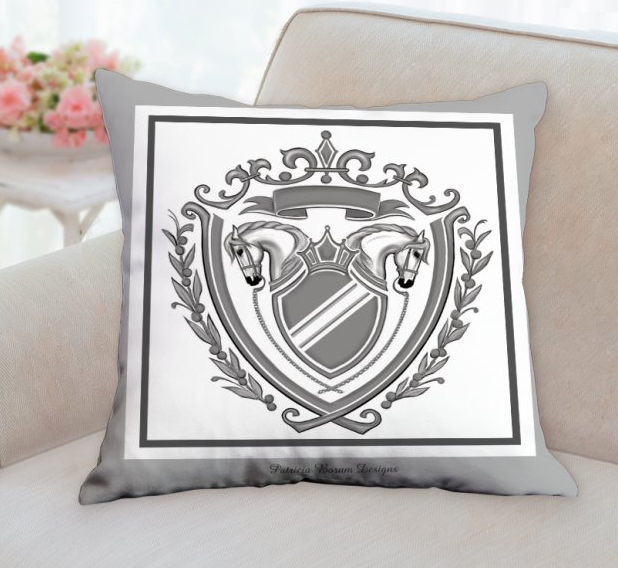 horse crest/ coat of arms pillow, gray