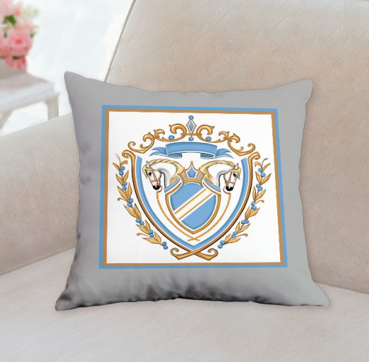 blue gray horse crest pillow