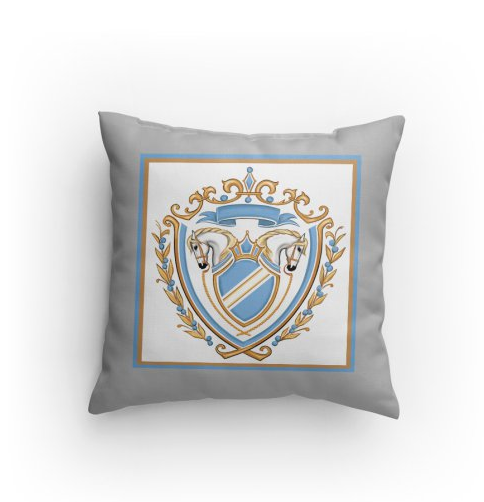 blue gray crest/coat of arms horse pillow