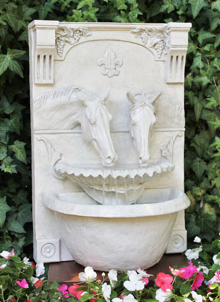 Two Horses Drinking Fountain (Lipizzan White) - Patricia Borum