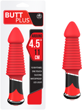 "Butt Plus - 4.5"" Silicone Vibrating Butt Plug - Ribbed (Red)"