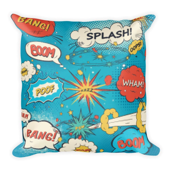 Comic Book Speech Bubbles Blue 18 x 18 Square Throw Pillow Cushion - Pillow - Nurdtyme