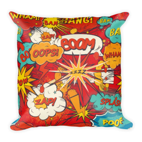 Comic Book Speech Bubbles Red 18 x 18 Square Throw Pillow Cushion - Pillow - Nurdtyme