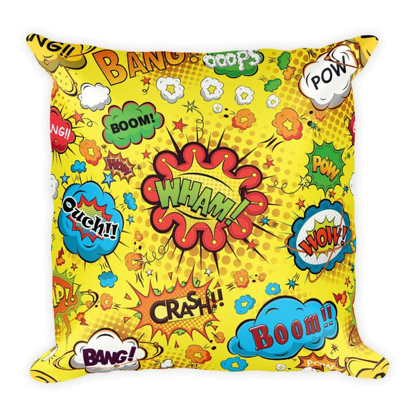 Comic Book Speech Bubbles Yellow 18 x 18 Square Throw Pillow Cushion - Pillow - Nurdtyme