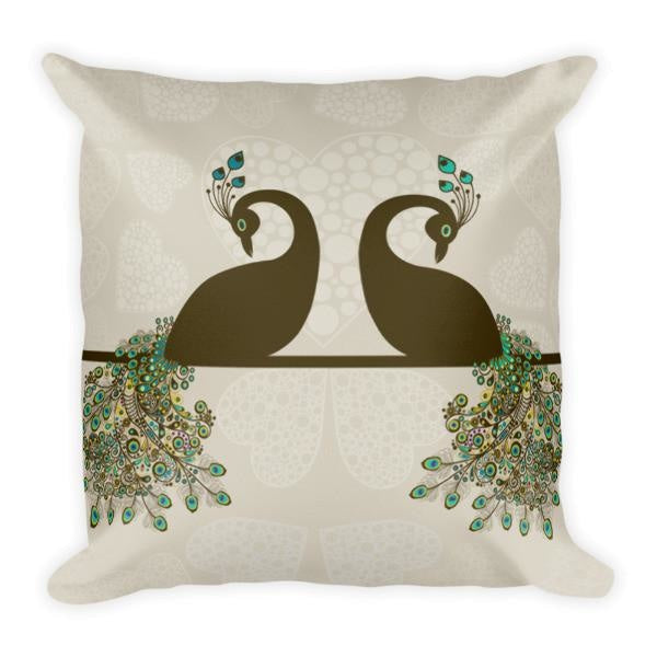 Double Peacock Throw Pillow 18 x 18 Square Pillow With Insert - Pillow - Nurdtyme