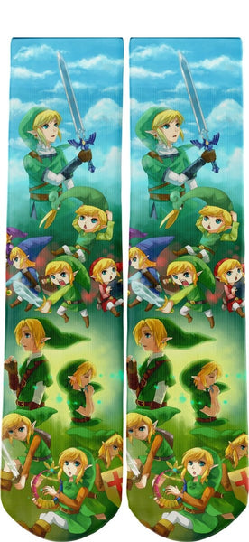 Link Tribute Legend of Zelda Novelty Socks One Size Fits All - socks - Nurdtyme