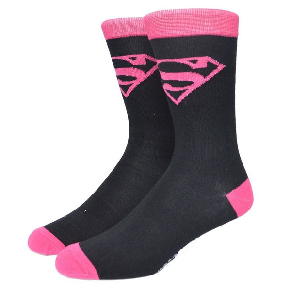 Pink Superman Logo Knitted Crew Socks Premium DC Comics Picture - socks - Nurdtyme